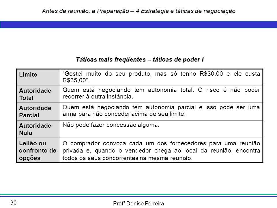Profª Denise Ferreira 30 Táticas mais freqüentes – táticas de poder I Limite Gostei muito do seu produto, mas só tenho R$30,00 e ele custa R$35,00. Au
