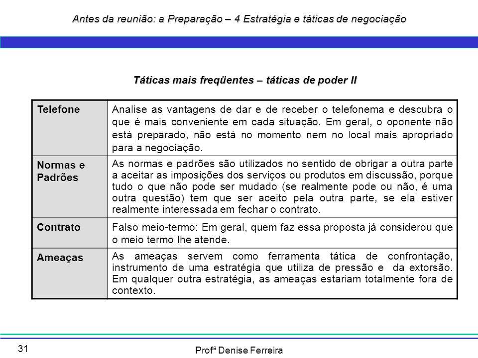 Profª Denise Ferreira 31 Táticas mais freqüentes – táticas de poder II TelefoneAnalise as vantagens de dar e de receber o telefonema e descubra o que