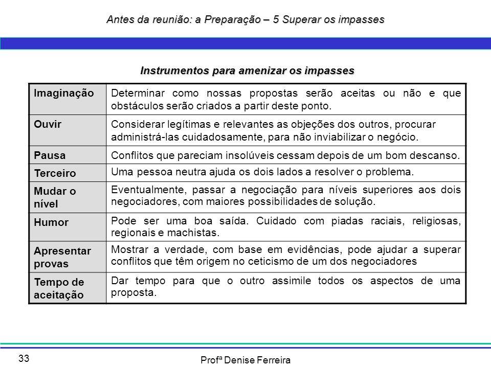 Profª Denise Ferreira 33 Instrumentos para amenizar os impasses ImaginaçãoDeterminar como nossas propostas serão aceitas ou não e que obstáculos serão