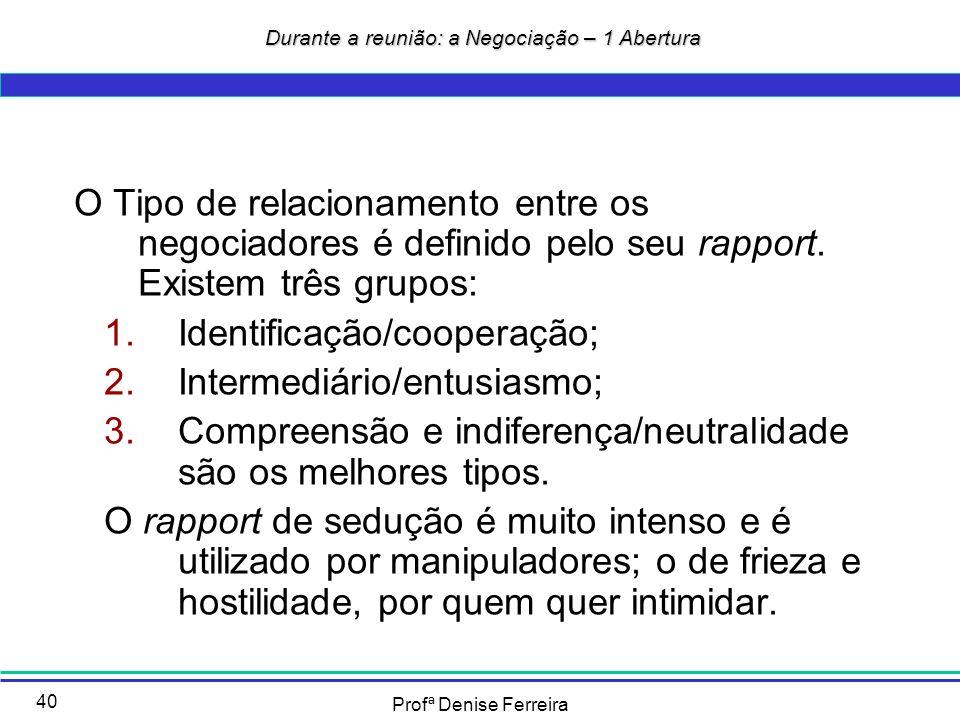 Profª Denise Ferreira 40 O Tipo de relacionamento entre os negociadores é definido pelo seu rapport. Existem três grupos: 1.Identificação/cooperação;