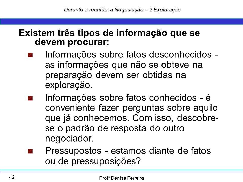 Profª Denise Ferreira 42 Durante a reunião: a Negociação – 2 Exploração Durante a reunião: a Negociação – 2 Exploração Existem três tipos de informaçã