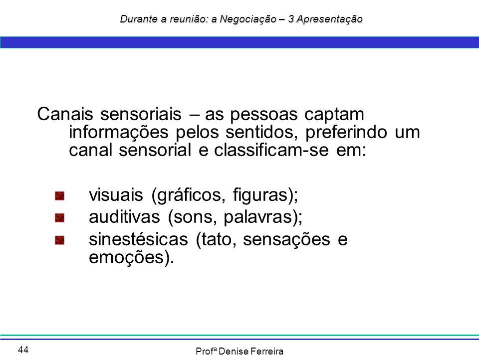 Profª Denise Ferreira 44 Durante a reunião: a Negociação – 3 Apresentação Durante a reunião: a Negociação – 3 Apresentação Canais sensoriais – as pess