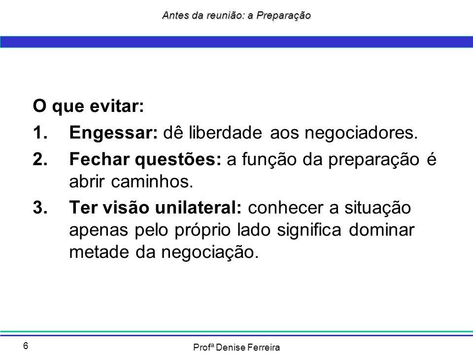 Profª Denise Ferreira 7 Fases de Preparação: 1.Conhecer o terreno; 2.Identificar dos cenários; 3.Definir os objetivos; 4.Escolher as estratégias e táticas; 5.Superar os impasses; 6.Preparar as concessões; 7.Evitar os erros mais freqüentes.