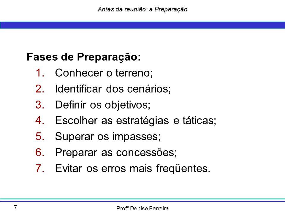 Profª Denise Ferreira 7 Fases de Preparação: 1.Conhecer o terreno; 2.Identificar dos cenários; 3.Definir os objetivos; 4.Escolher as estratégias e tát