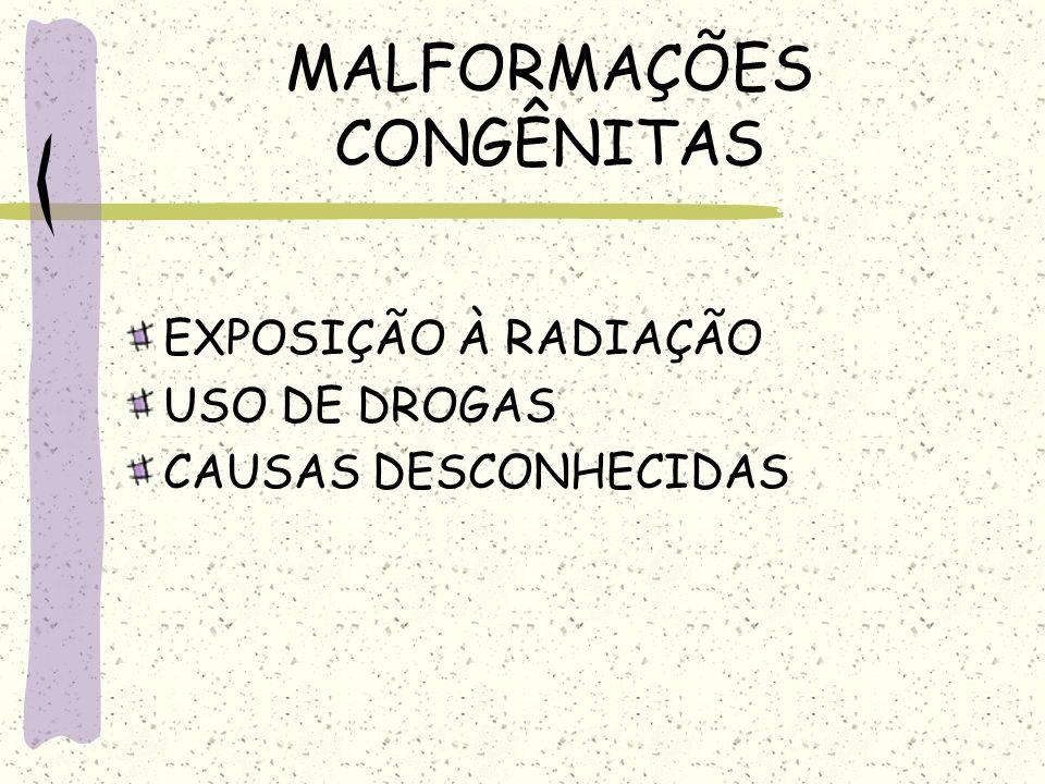 MALFORMAÇÕES CONGÊNITAS EXPOSIÇÃO À RADIAÇÃO USO DE DROGAS CAUSAS DESCONHECIDAS