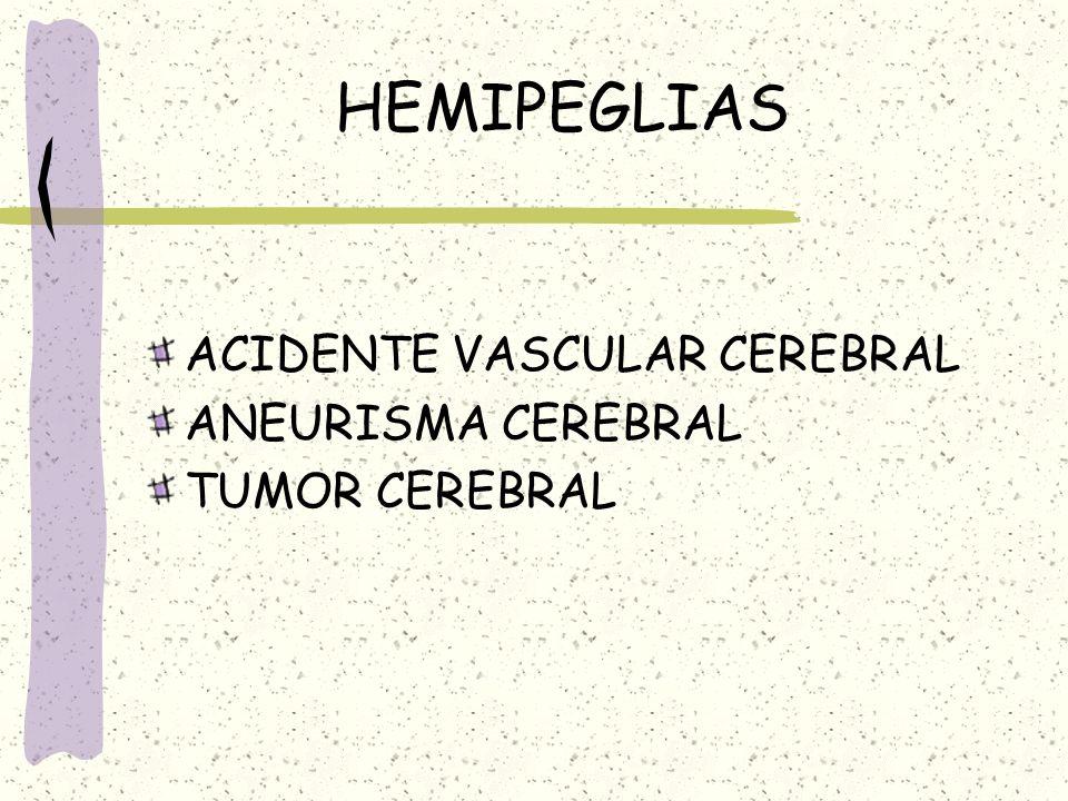 HEMIPEGLIAS ACIDENTE VASCULAR CEREBRAL ANEURISMA CEREBRAL TUMOR CEREBRAL
