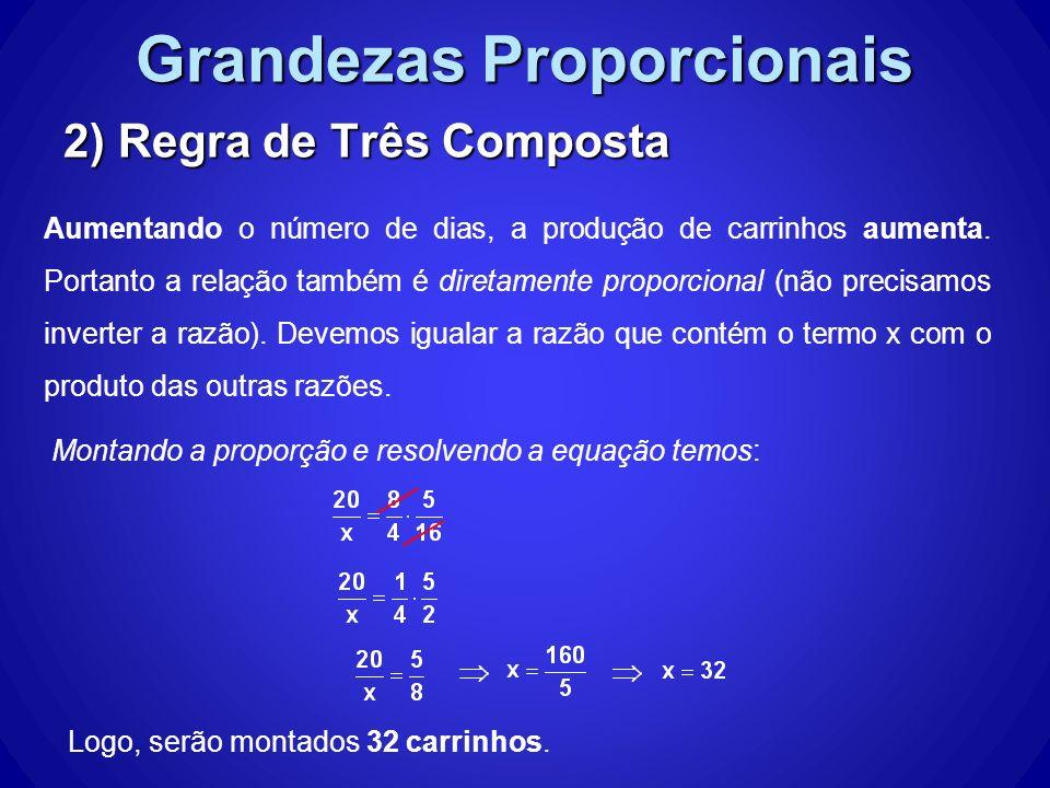 Grandezas Proporcionais 2) Regra de Três Composta Montando a proporção e resolvendo a equação temos: Logo, serão montados 32 carrinhos. Aumentando o n