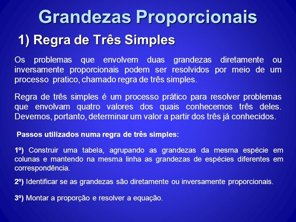 Grandezas Proporcionais 1) Regra de Três Simples Os problemas que envolvem duas grandezas diretamente ou inversamente proporcionais podem ser resolvidos por meio de um processo pratico, chamado regra de três simples.