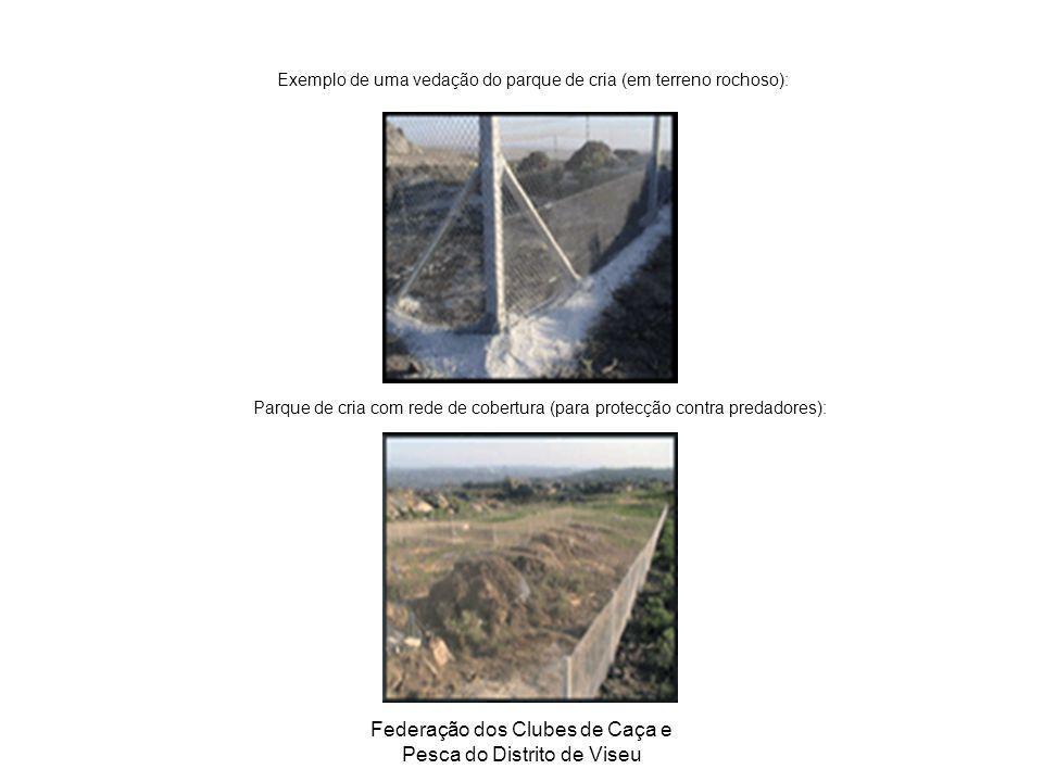 Federação dos Clubes de Caça e Pesca do Distrito de Viseu Exemplo de uma vedação do parque de cria (em terreno rochoso): Parque de cria com rede de co
