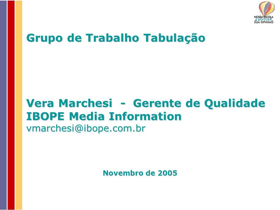 Grupo de Trabalho Tabulação Vera Marchesi - Gerente de Qualidade IBOPE Media Information vmarchesi@ibope.com.br Novembro de 2005