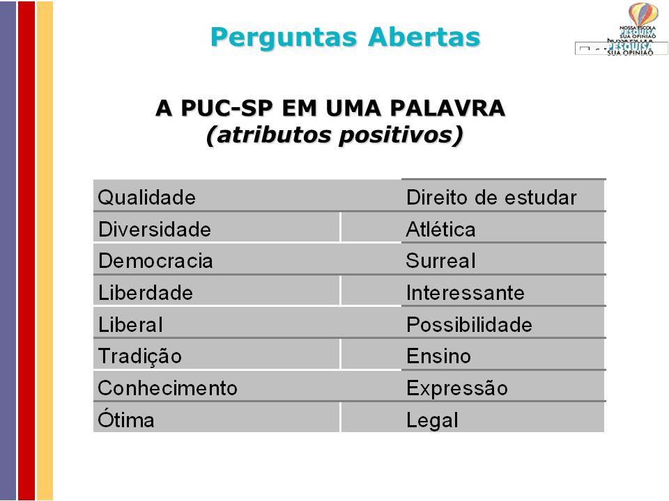 A PUC-SP EM UMA PALAVRA (atributos positivos) Perguntas Abertas