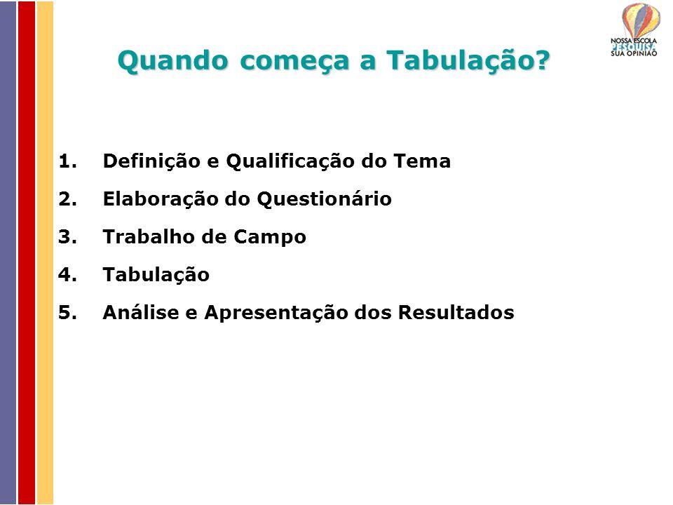 Quando começa a Tabulação? 1.Definição e Qualificação do Tema 2.Elaboração do Questionário 3.Trabalho de Campo 4.Tabulação 5.Análise e Apresentação do