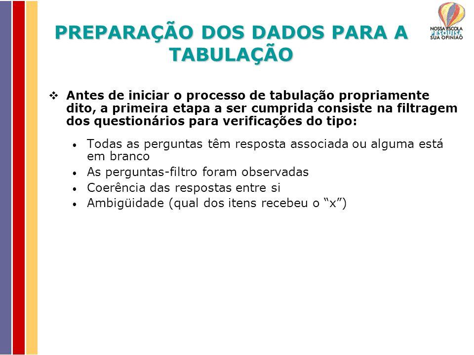 Antes de iniciar o processo de tabulação propriamente dito, a primeira etapa a ser cumprida consiste na filtragem dos questionários para verificações