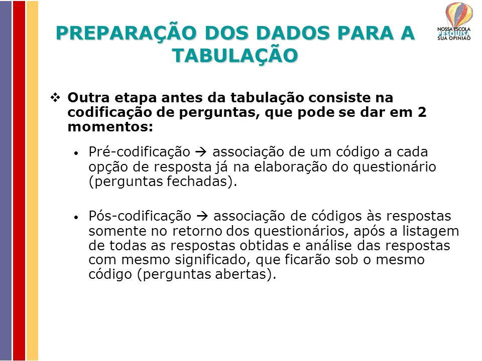 Outra etapa antes da tabulação consiste na codificação de perguntas, que pode se dar em 2 momentos: Pré-codificação associação de um código a cada opção de resposta já na elaboração do questionário (perguntas fechadas).