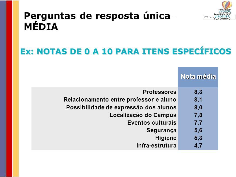 Ex: NOTAS DE 0 A 10 PARA ITENS ESPECÍFICOS Professores Relacionamento entre professor e aluno Possibilidade de expressão dos alunos Localização do Cam