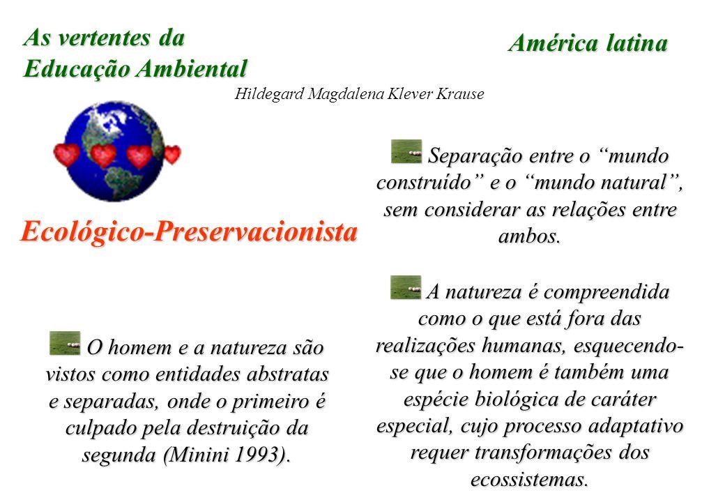 As vertentes da Educação Ambiental Hildegard Magdalena Klever Krause Ecológico-Preservacionista Separação entre o mundo construído e o mundo natural, sem considerar as relações entre ambos.