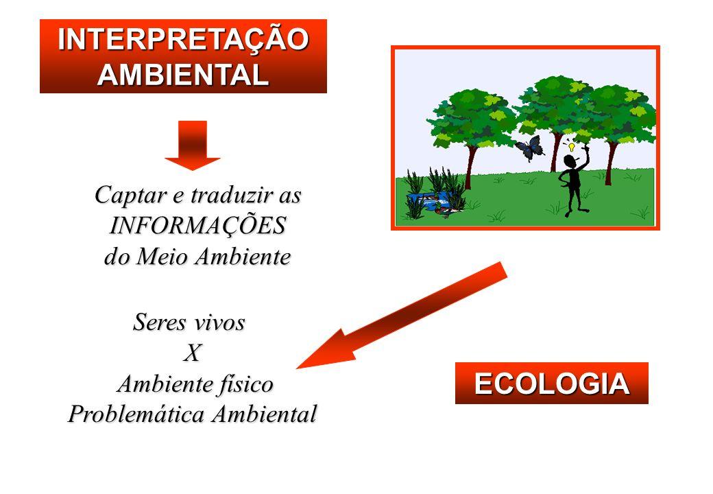 INTERPRETAÇÃO AMBIENTAL Captar e traduzir as INFORMAÇÕES do Meio Ambiente Seres vivos X Ambiente físico Ambiente físico Problemática Ambiental ECOLOGIA