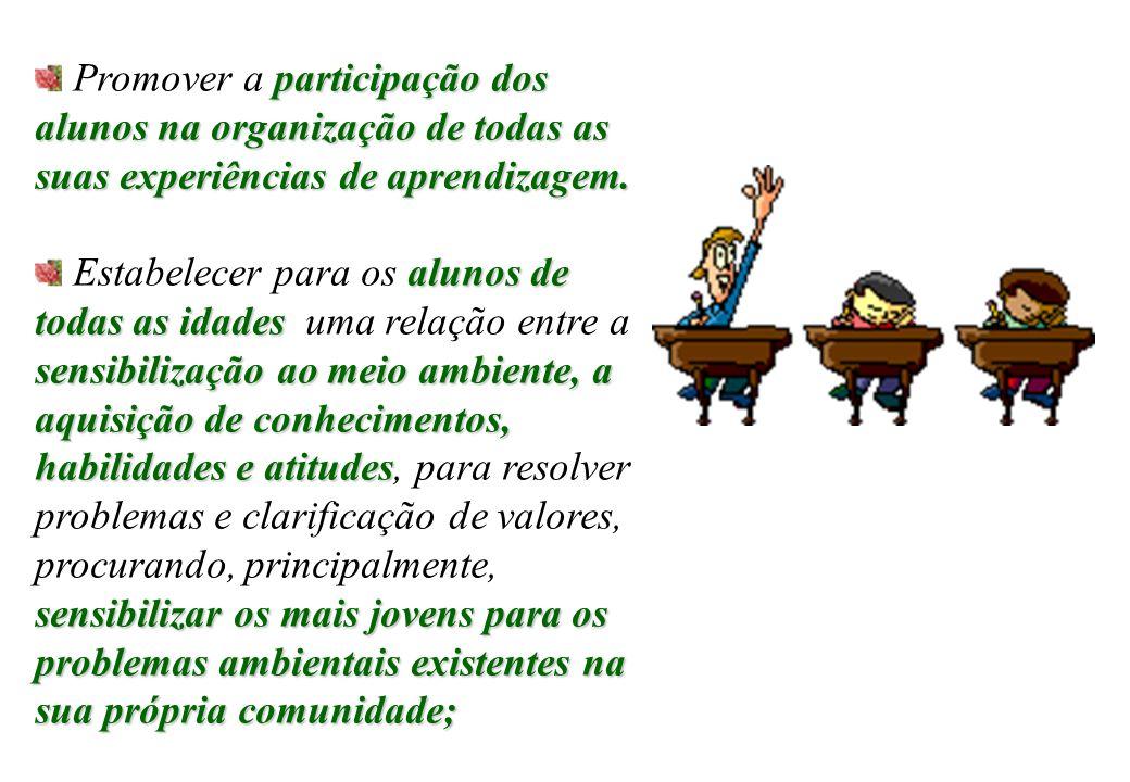 participação dos alunos na organização de todas as suas experiências de aprendizagem.