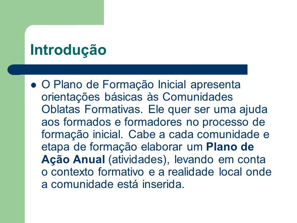 Introdução O Plano de Formação Inicial apresenta orientações básicas às Comunidades Oblatas Formativas.