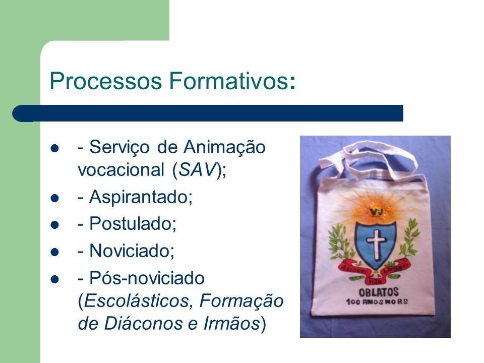Processos Formativos: - Serviço de Animação vocacional (SAV); - Aspirantado; - Postulado; - Noviciado; - Pós-noviciado (Escolásticos, Formação de Diáconos e Irmãos)