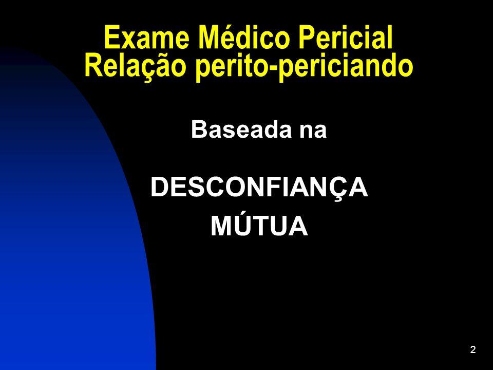 2 Exame Médico Pericial Relação perito-periciando Baseada na DESCONFIANÇA MÚTUA