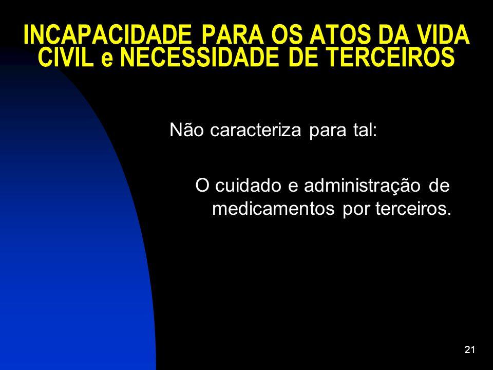 21 INCAPACIDADE PARA OS ATOS DA VIDA CIVIL e NECESSIDADE DE TERCEIROS Não caracteriza para tal: O cuidado e administração de medicamentos por terceiro