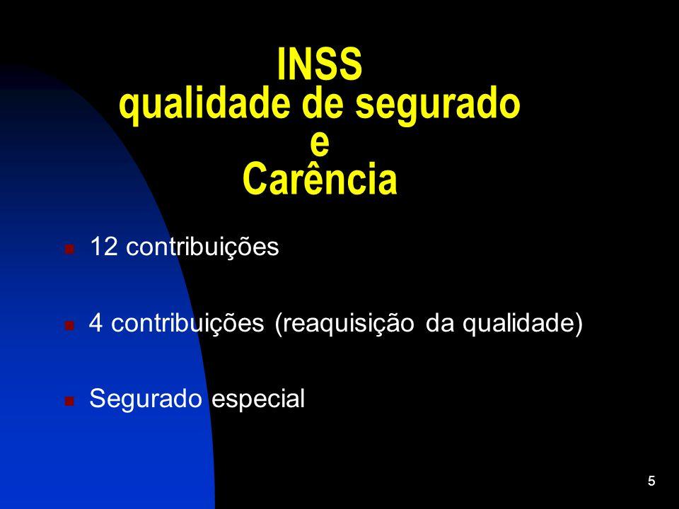 5 INSS qualidade de segurado e Carência 12 contribuições 4 contribuições (reaquisição da qualidade) Segurado especial