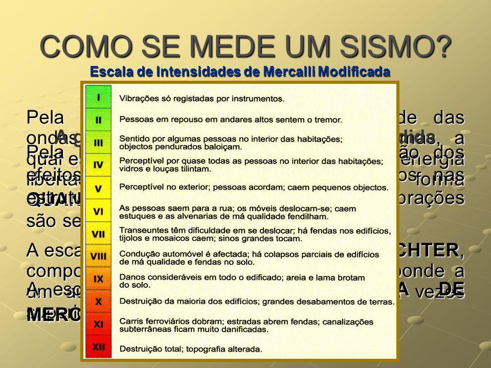 COMO SE MEDE UM SISMO? 1ª Pela MAGNITUDE, através da amplitude das ondas sísmicas registadas nos sismogramas, a qual está relacionada com a quantidade