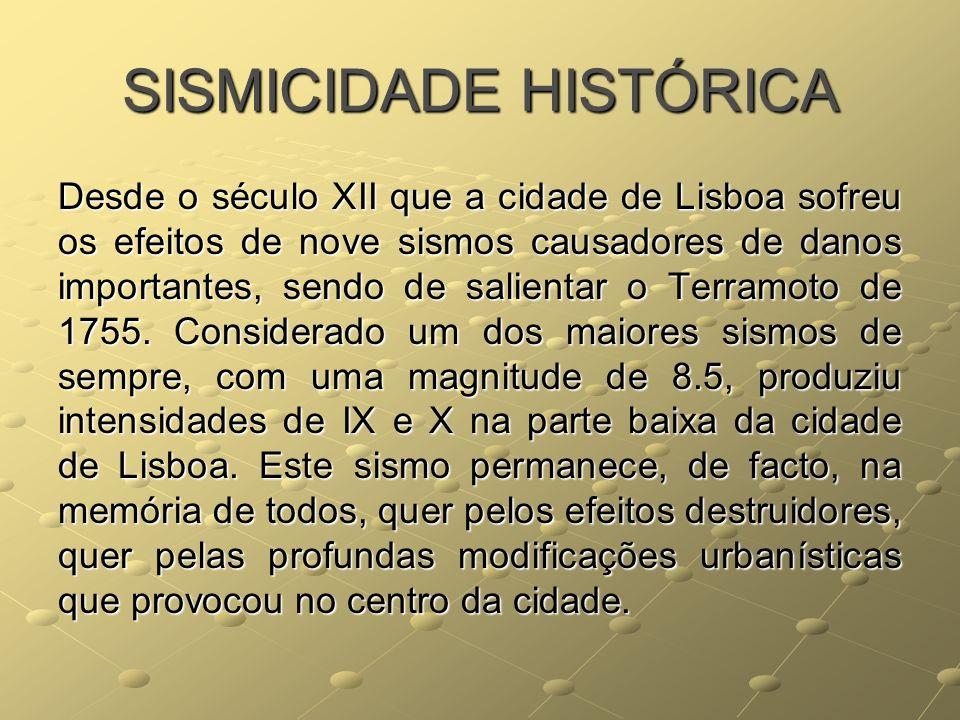 SISMICIDADE HISTÓRICA Desde o século XII que a cidade de Lisboa sofreu os efeitos de nove sismos causadores de danos importantes, sendo de salientar o