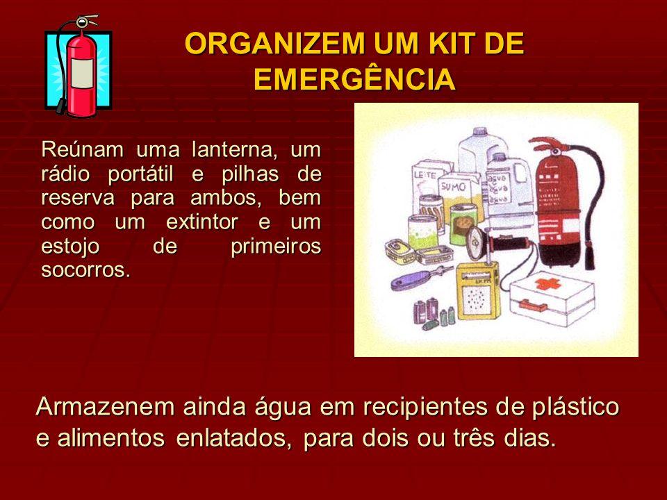 ORGANIZEM UM KIT DE EMERGÊNCIA Reúnam uma lanterna, um rádio portátil e pilhas de reserva para ambos, bem como um extintor e um estojo de primeiros so
