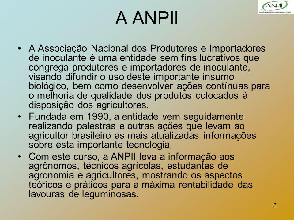 2 A ANPII A Associação Nacional dos Produtores e Importadores de inoculante é uma entidade sem fins lucrativos que congrega produtores e importadores
