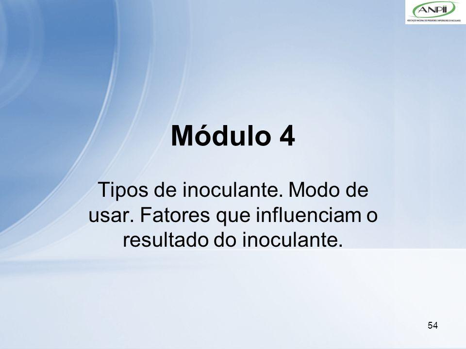 54 Módulo 4 Tipos de inoculante. Modo de usar. Fatores que influenciam o resultado do inoculante.