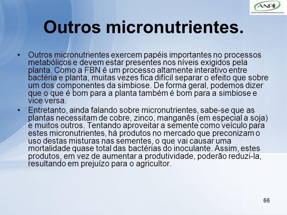66 Outros micronutrientes. Outros micronutrientes exercem papéis importantes no processos metabólicos e devem estar presentes nos níveis exigidos pela