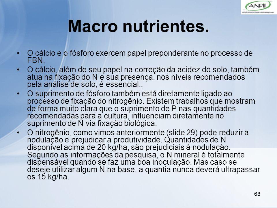 68 Macro nutrientes. O cálcio e o fósforo exercem papel preponderante no processo de FBN. O cálcio, além de seu papel na correção da acidez do solo, t