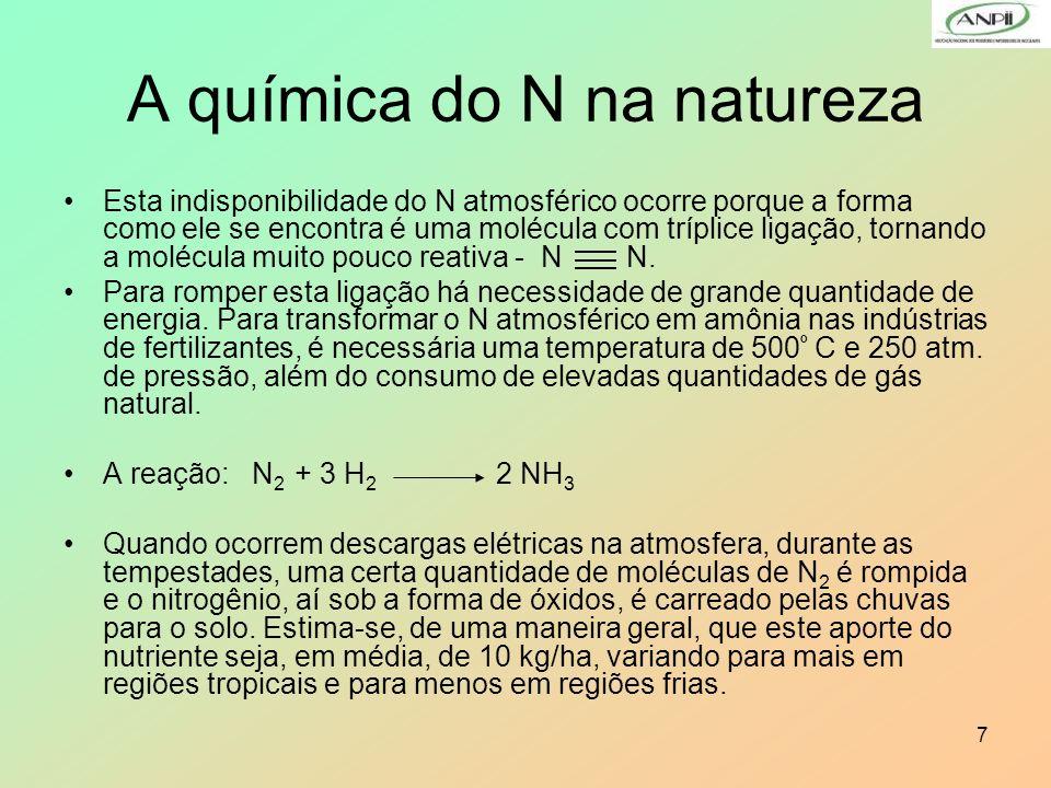 7 A química do N na natureza Esta indisponibilidade do N atmosférico ocorre porque a forma como ele se encontra é uma molécula com tríplice ligação, t
