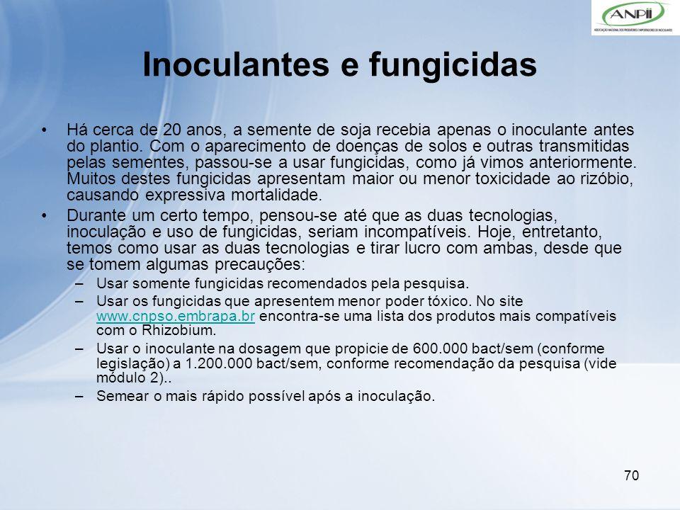 70 Inoculantes e fungicidas Há cerca de 20 anos, a semente de soja recebia apenas o inoculante antes do plantio. Com o aparecimento de doenças de solo