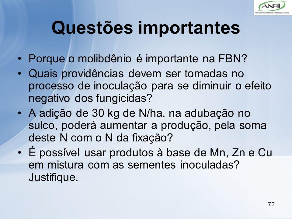 72 Questões importantes Porque o molibdênio é importante na FBN? Quais providências devem ser tomadas no processo de inoculação para se diminuir o efe