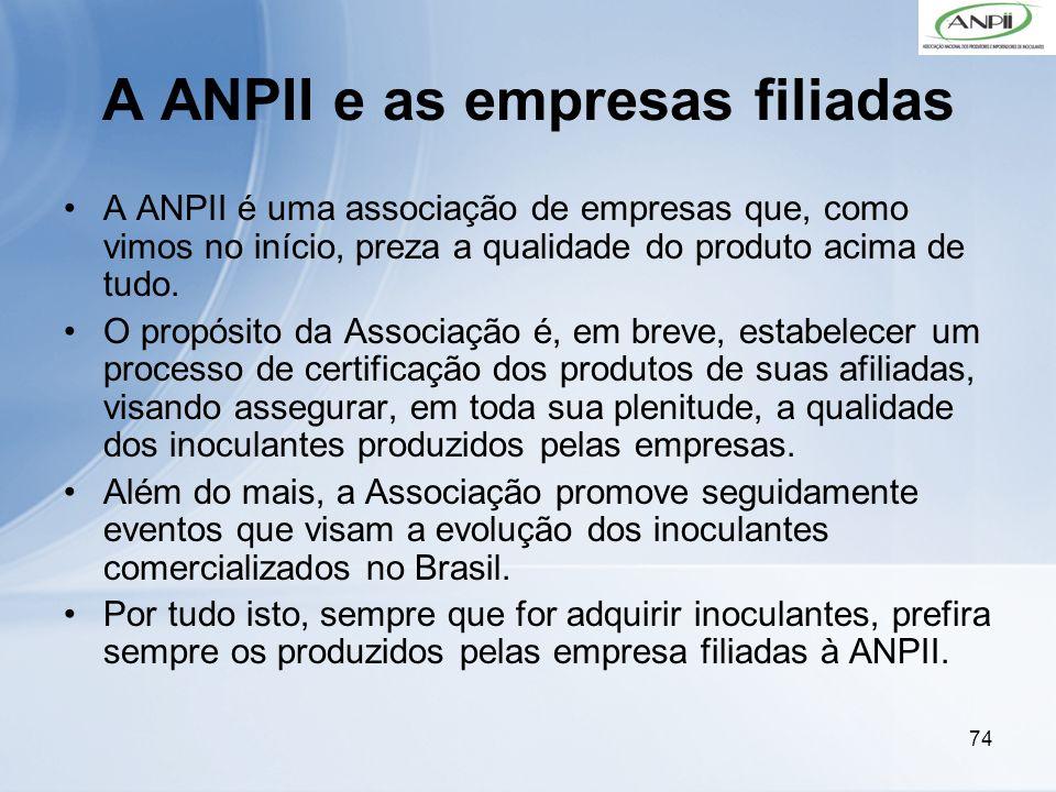 74 A ANPII e as empresas filiadas A ANPII é uma associação de empresas que, como vimos no início, preza a qualidade do produto acima de tudo. O propós