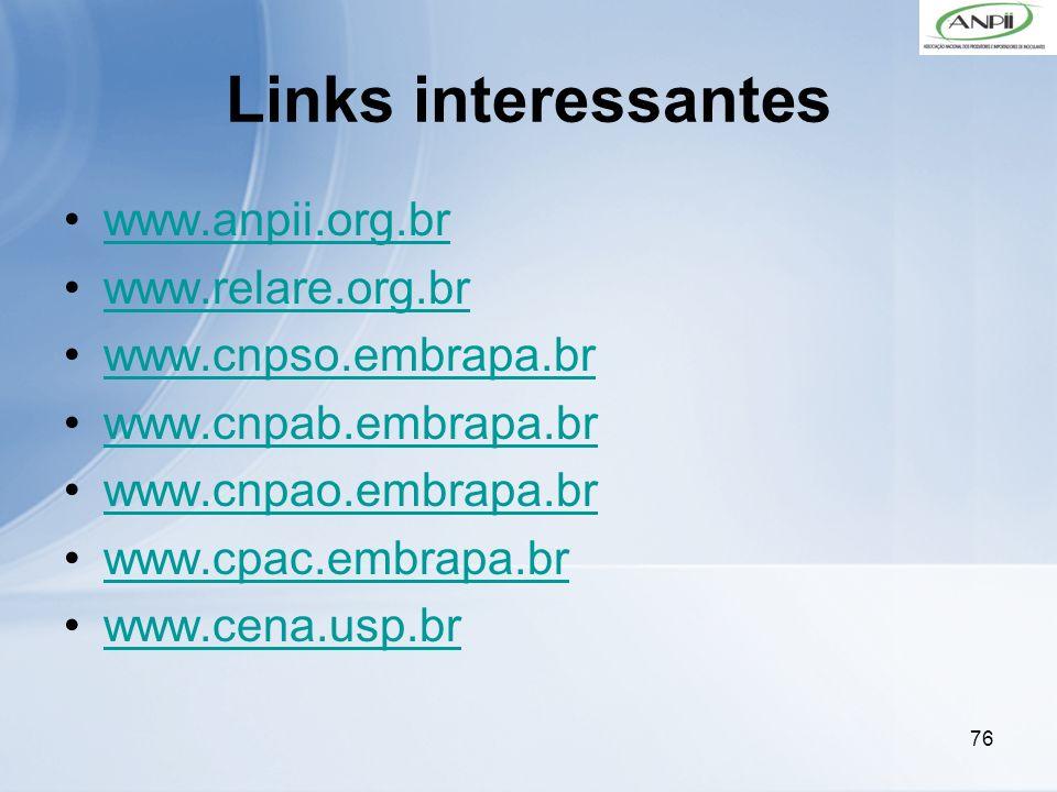 76 Links interessantes www.anpii.org.br www.relare.org.br www.cnpso.embrapa.br www.cnpab.embrapa.br www.cnpao.embrapa.br www.cpac.embrapa.br www.cena.