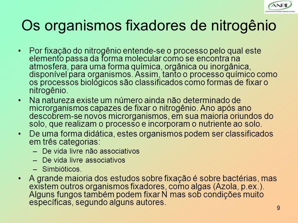 9 Os organismos fixadores de nitrogênio Por fixação do nitrogênio entende-se o processo pelo qual este elemento passa da forma molecular como se encon