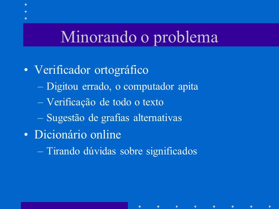 Minorando o problema Verificador ortográfico –Digitou errado, o computador apita –Verificação de todo o texto –Sugestão de grafias alternativas Dicion