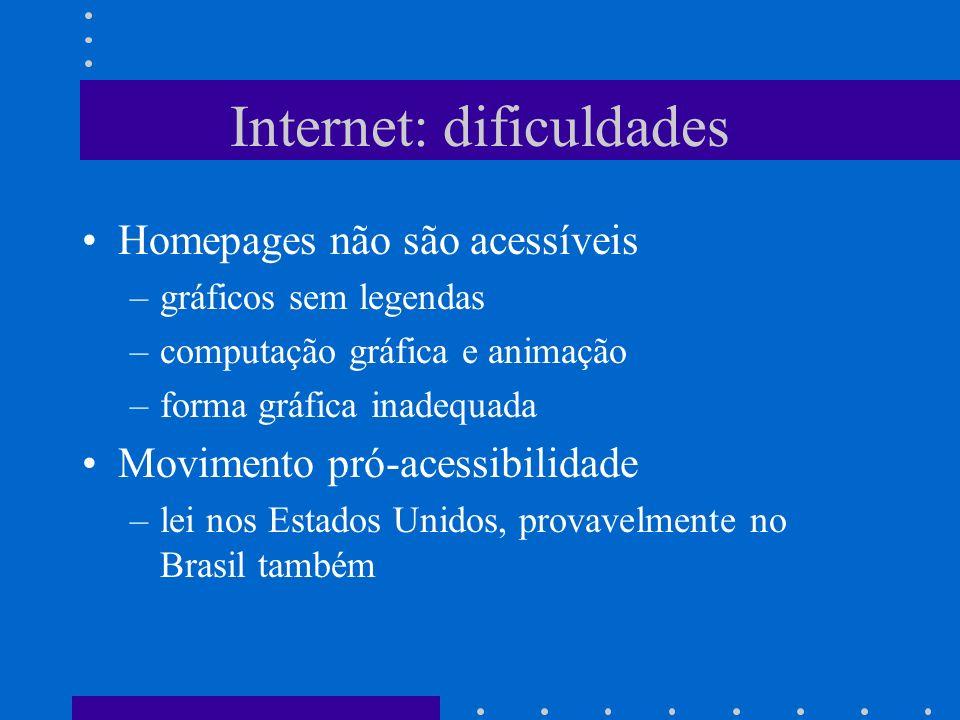 Internet: dificuldades Homepages não são acessíveis –gráficos sem legendas –computação gráfica e animação –forma gráfica inadequada Movimento pró-aces