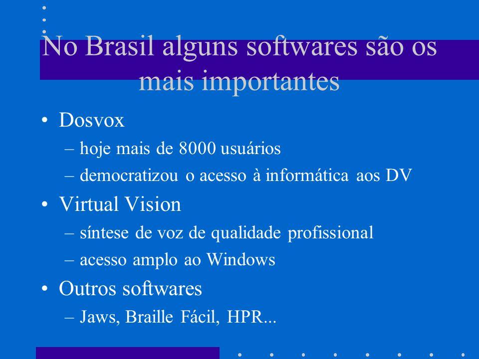 No Brasil alguns softwares são os mais importantes Dosvox –hoje mais de 8000 usuários –democratizou o acesso à informática aos DV Virtual Vision –sínt