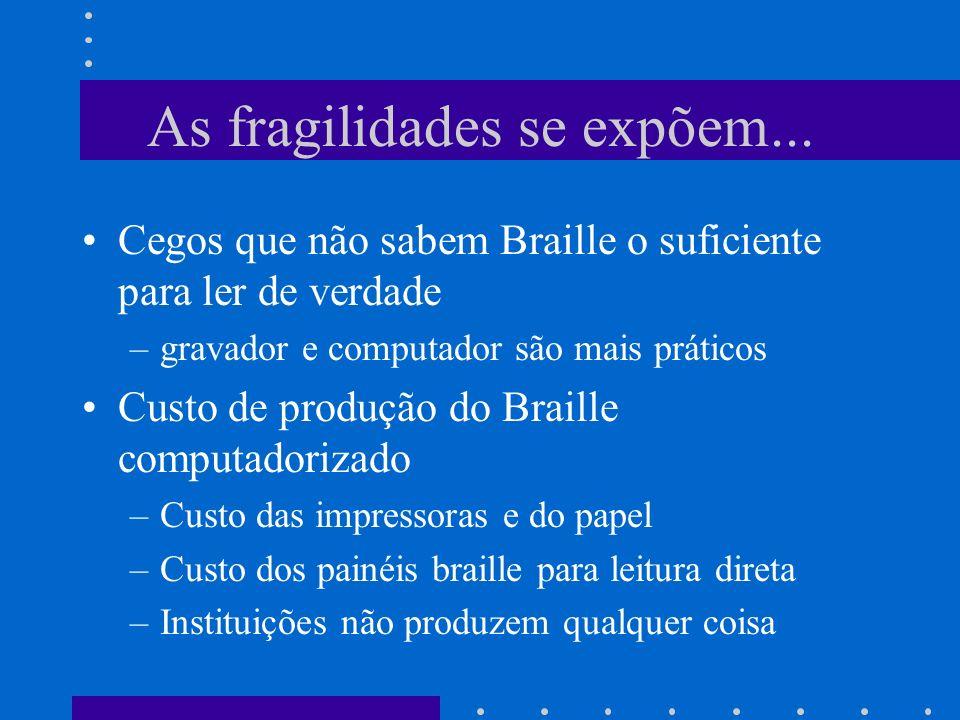 As fragilidades se expõem... Cegos que não sabem Braille o suficiente para ler de verdade –gravador e computador são mais práticos Custo de produção d