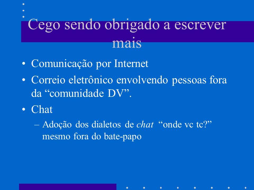 Cego sendo obrigado a escrever mais Comunicação por Internet Correio eletrônico envolvendo pessoas fora da comunidade DV. Chat –Adoção dos dialetos de