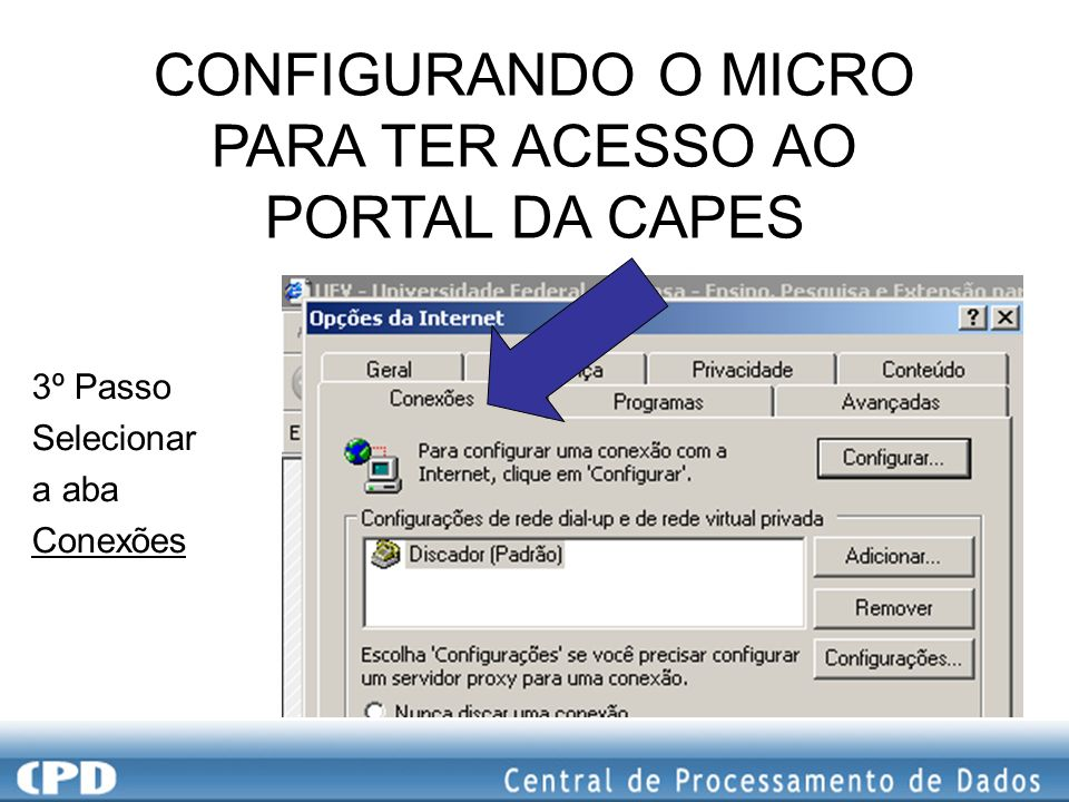 3º Passo Selecionar a aba Conexões CONFIGURANDO O MICRO PARA TER ACESSO AO PORTAL DA CAPES