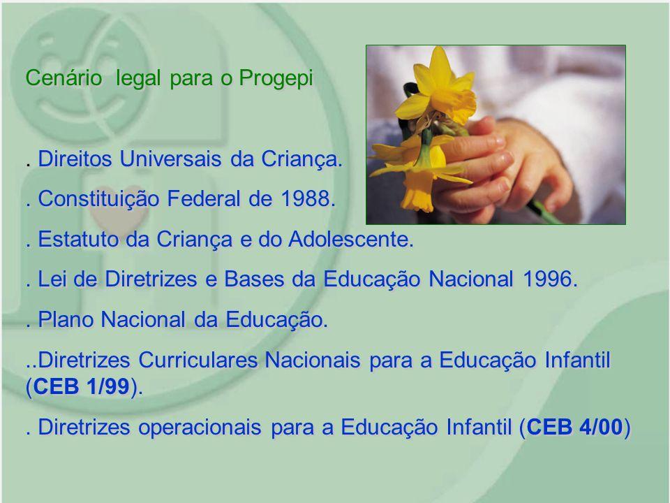 Cenário legal para o Progepi. Direitos Universais da Criança.. Constituição Federal de 1988.. Estatuto da Criança e do Adolescente.. Lei de Diretrizes