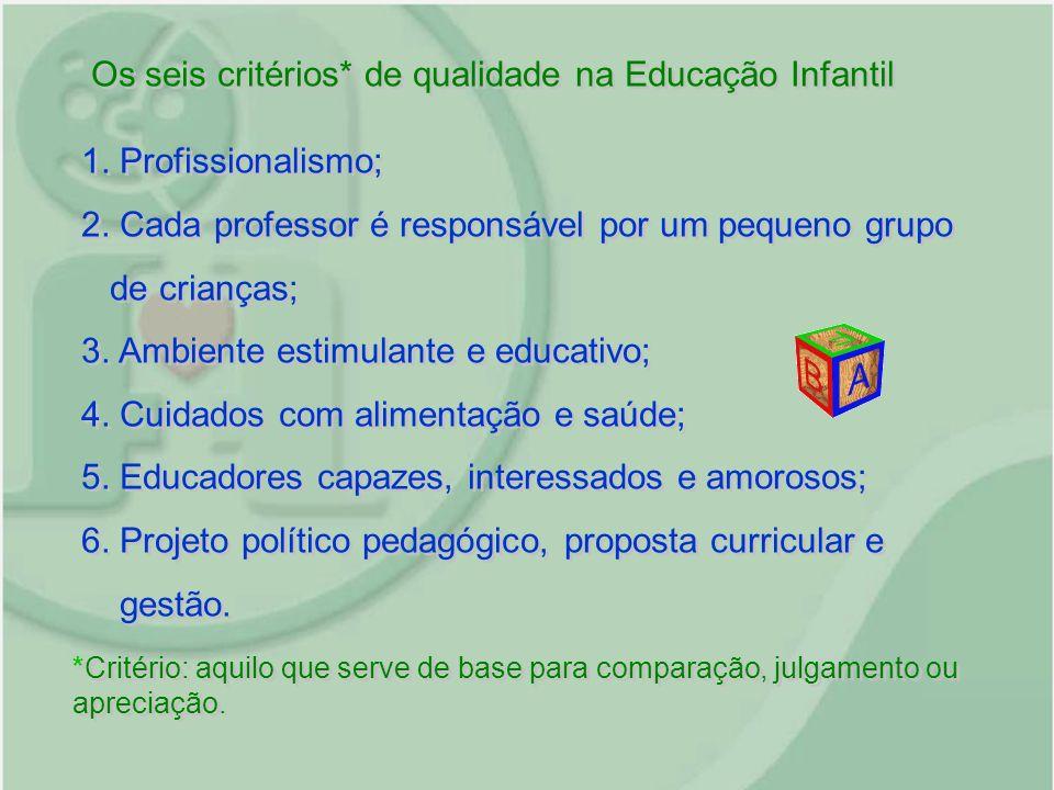 Os seis critérios* de qualidade na Educação Infantil 1. Profissionalismo; 2. Cada professor é responsável por um pequeno grupo de crianças; 3. Ambient