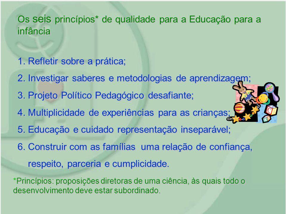 Os seis princípios* de qualidade para a Educação para a infância 1. Refletir sobre a prática; 2. Investigar saberes e metodologias de aprendizagem; 3.