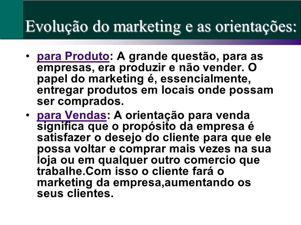 Evolução do marketing e as orientações: para Produto: A grande questão, para as empresas, era produzir e não vender. O papel do marketing é, essencial